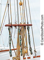Rigging on an old Dutch sailing ship - Rigging on an old...