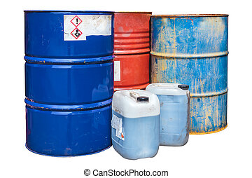 Toxic waste barrels isolated on white - Rusty toxic waste...