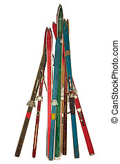 Vintage collection of used skis isolated on white - Vintage...