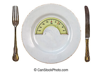 Plate with a weight balance scale. Diet concept - Plate with...