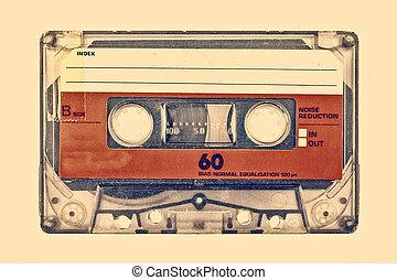 Retro styled image of an old compact cassette with empty...