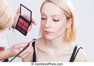 Professional Make-up artist applying makeup - Professional...