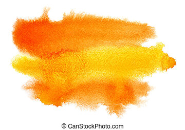 Yellow - orange watercolor brush strokes with space for your...