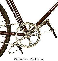Detail of an old bicycle isolated on white - Detail of an...