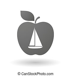 Apple icon with a ship