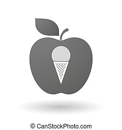 Apple icon with a cone ice cream
