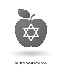 Apple icon with a David star - Illustration of an isolated...
