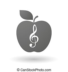 Apple icon with a g clef