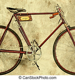 Retro styled image of an old racing bicycle - Retro styled...