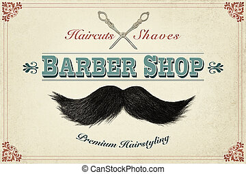 Retro styled design concept for a barber shop with photos of...