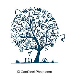 Fishing tree concept, sketch for your design. Vector...