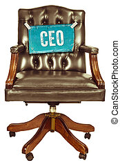 Retro office chair with CEO sign isolated on white