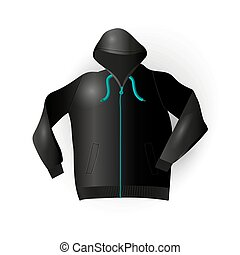 Black sport raincoat and comfortable clothing Vector