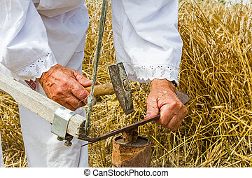 Farmer is sharpening, ironing, repair the blade on scythe. -...