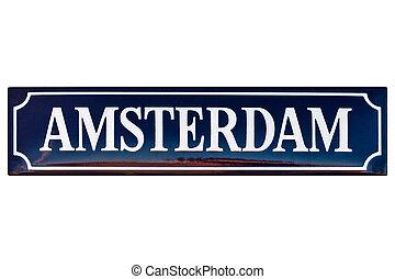 Vintage enamel street sign with the text Amsterdam
