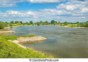 The old Dutch river IJssel between Zutphen and Deventer -...