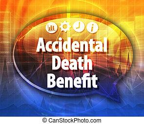 Accidental death benefit Business term speech bubble...