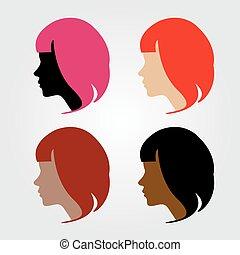 Faces of four multi-ethnic women