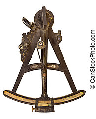 Ancient maritime sextant isolated on white - Ancient...