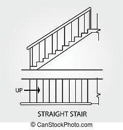 View of a straight staircase - Top view and front view of a...