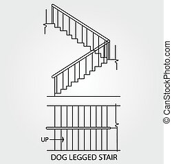 dog legged staircase - Top view and front view of a dog...