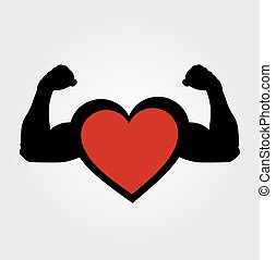 A heart with flexing muscles