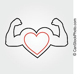 A heart with flexing muscles- Healthy heart