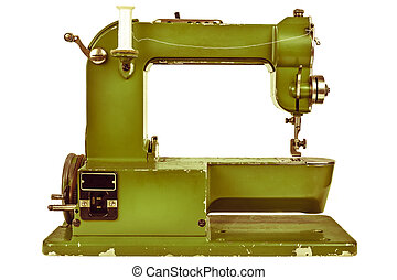Retro styled image of a sewing machine isolated on white -...