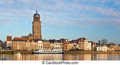 Panoramic view of the medieval Dutch city Deventer alongside...