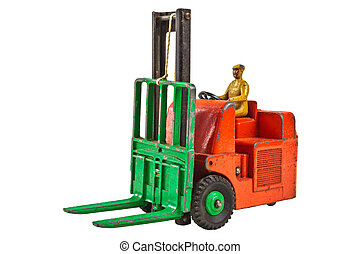 Vintage toy fork lift truck isolated on white - Vintage toy...