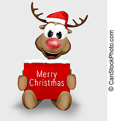 Christmas Reindeer holding sign