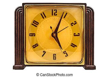 Bakelite art deco clock isolated on white - Bakelite art...
