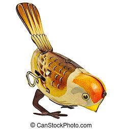 Retro tin toy bird isolated on white - Retro tin wind up toy...