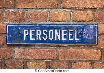 """古い, 壁, テキスト, 印, オランダ語, れんが,  """"personnel"""""""