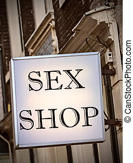 Generic sex shop sign in Amsterdam