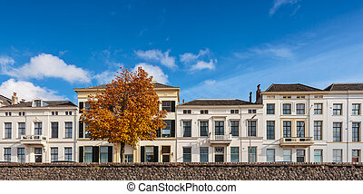 Panoramic view of houses in the Dutch city of Zutphen -...