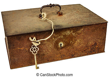 Vintage metal box with key isolated on white - Vintage...