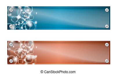 Set of two banners with bubbles and glass panel