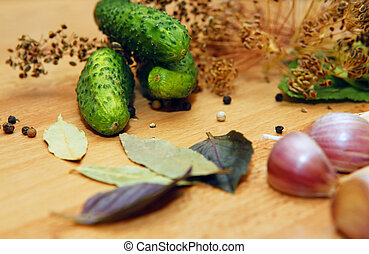 Ingredients for pickling - Bay leaves, pepper, dill, garlic...