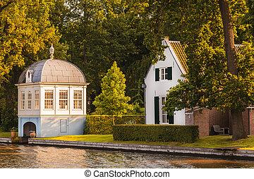 古い, 一緒に,  vecht, ボートハウス, オランダ語, 川