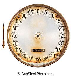 Vintage meter of a petrol pump with separate indicator...