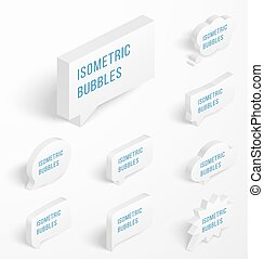 Set of white isometric bubbles with drop shadow - Set of 3d...
