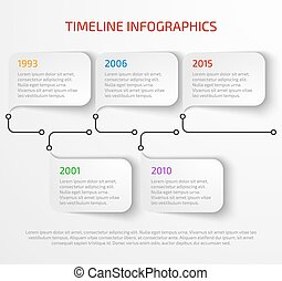 Modern timeline infographic design template with drop shadow...