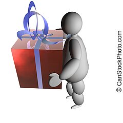 3D puppet with gift