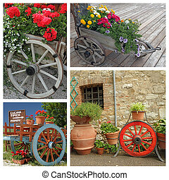 flowering plants in wooden planters with wheel
