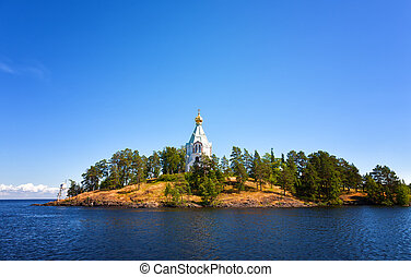 Valaam. A monastery of the prelate Nikolay in the sunny...