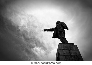 Lenin, cielo, proletariado, contra, monumento, Monocromo,...