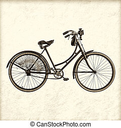 Retro styled image of a vintage lady bicycle - Retro styled...