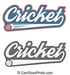 Vintage cricket label and badge. Vector Illustration...