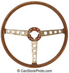 Antique wooden car steering wheel isolated on white